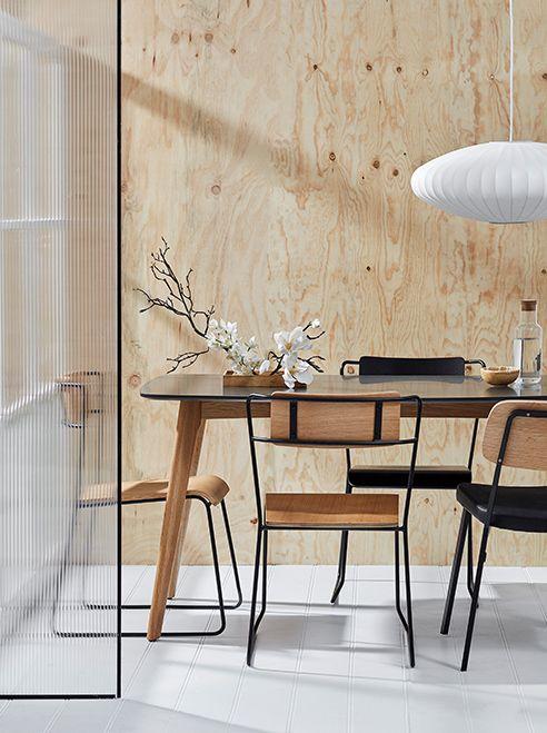 sala de jantar minimalista com estilo nórdico e japonês