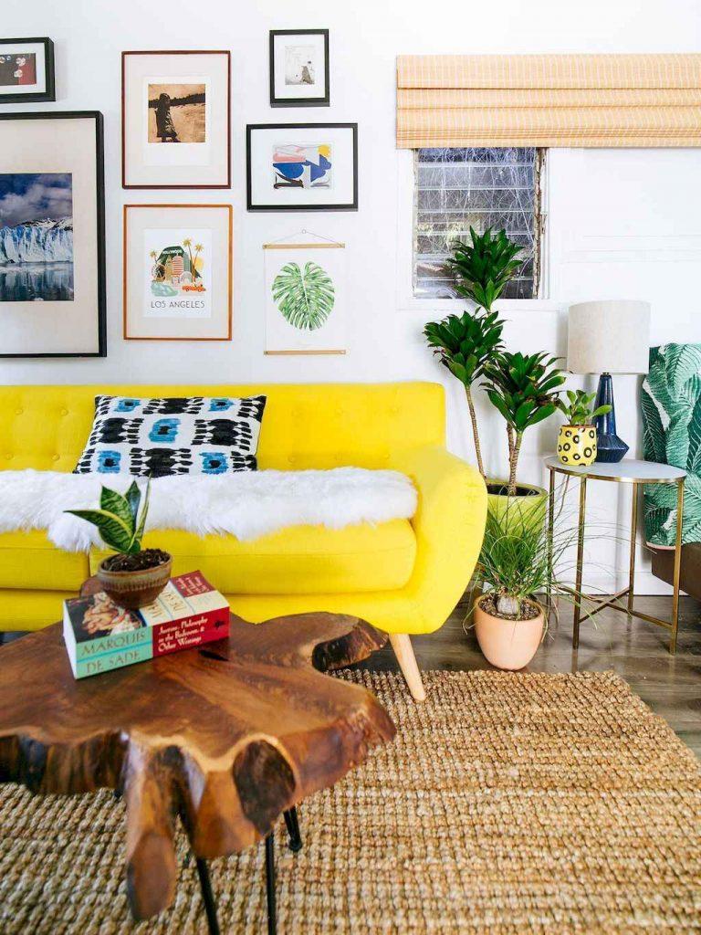sofá amarelo para sala de estar