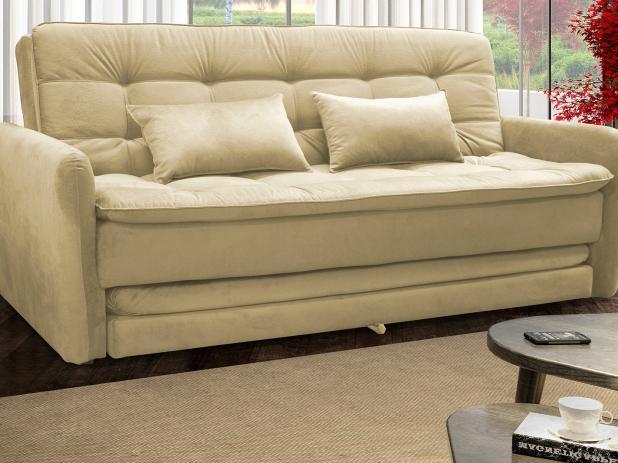 sofá-cama bege