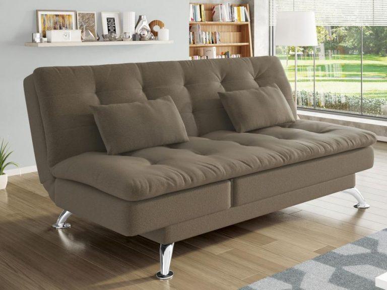 sofá-cama marrom
