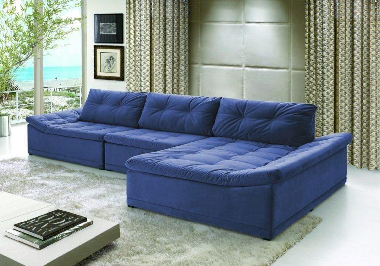 sofá com chaise azul