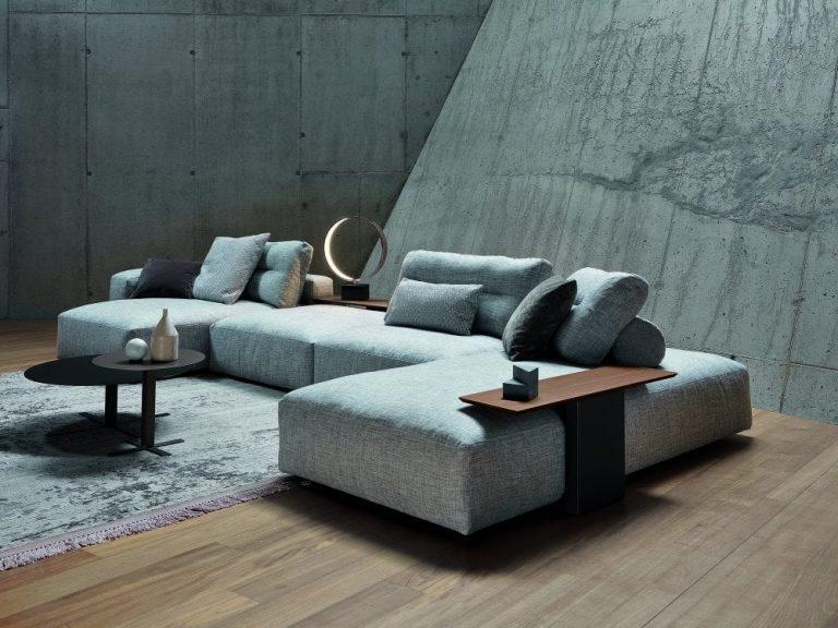 sofá modular cinza