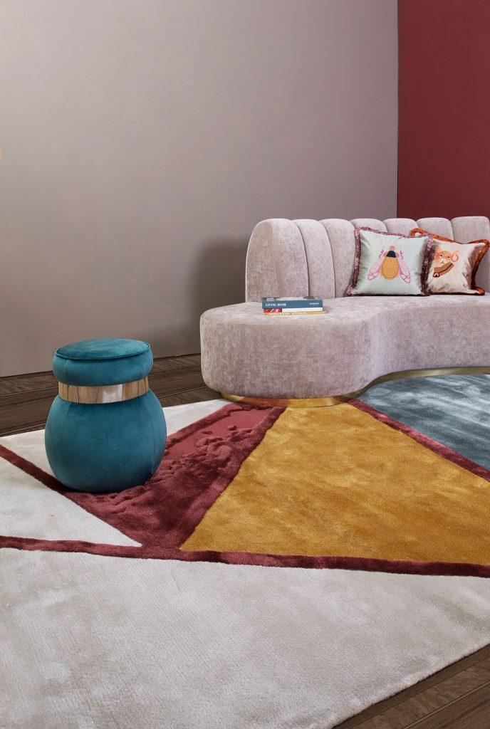 tapete abstrato em sala de estar