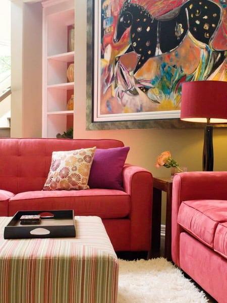 vermelho na decoração da sala