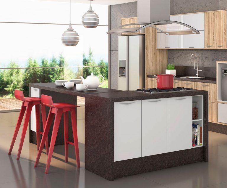 cozinha com ilha central moderna