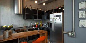 decoração industrial em cozinha