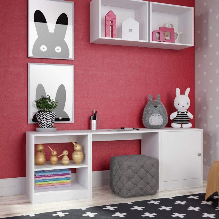 espaço de estudo em quarto infantil