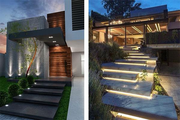 Iluminação externa para escadas