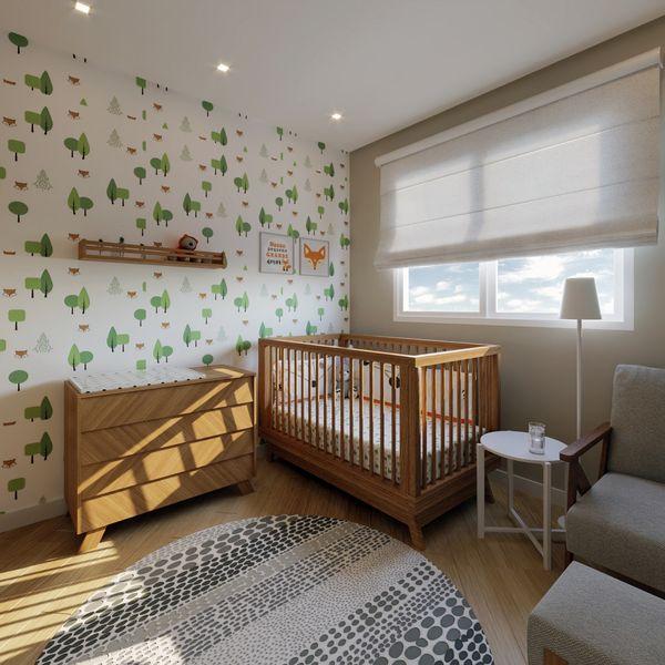 quarto de bebê com móveis naturais