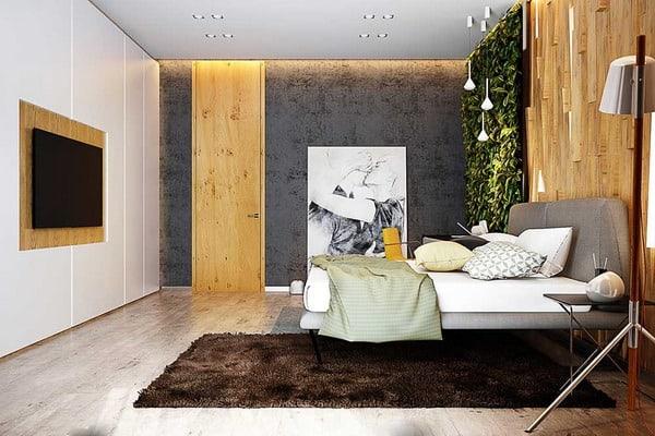 quarto de casal com cores neutras