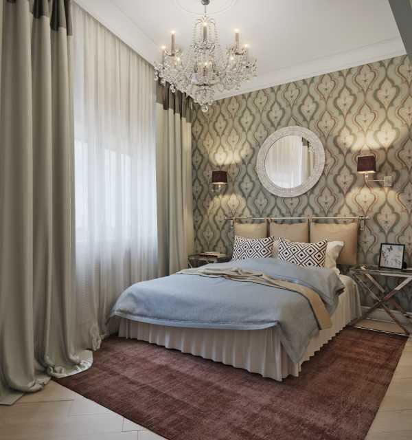 quarto de casal com cortinas longas