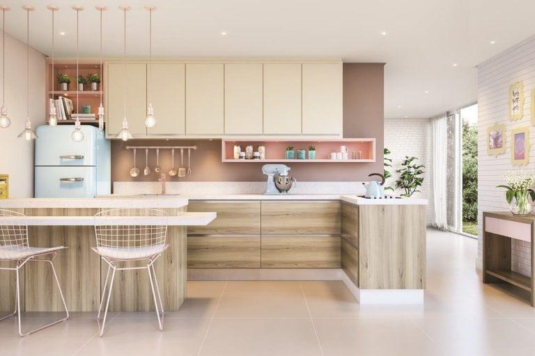 cozinha integrada em tons neutros