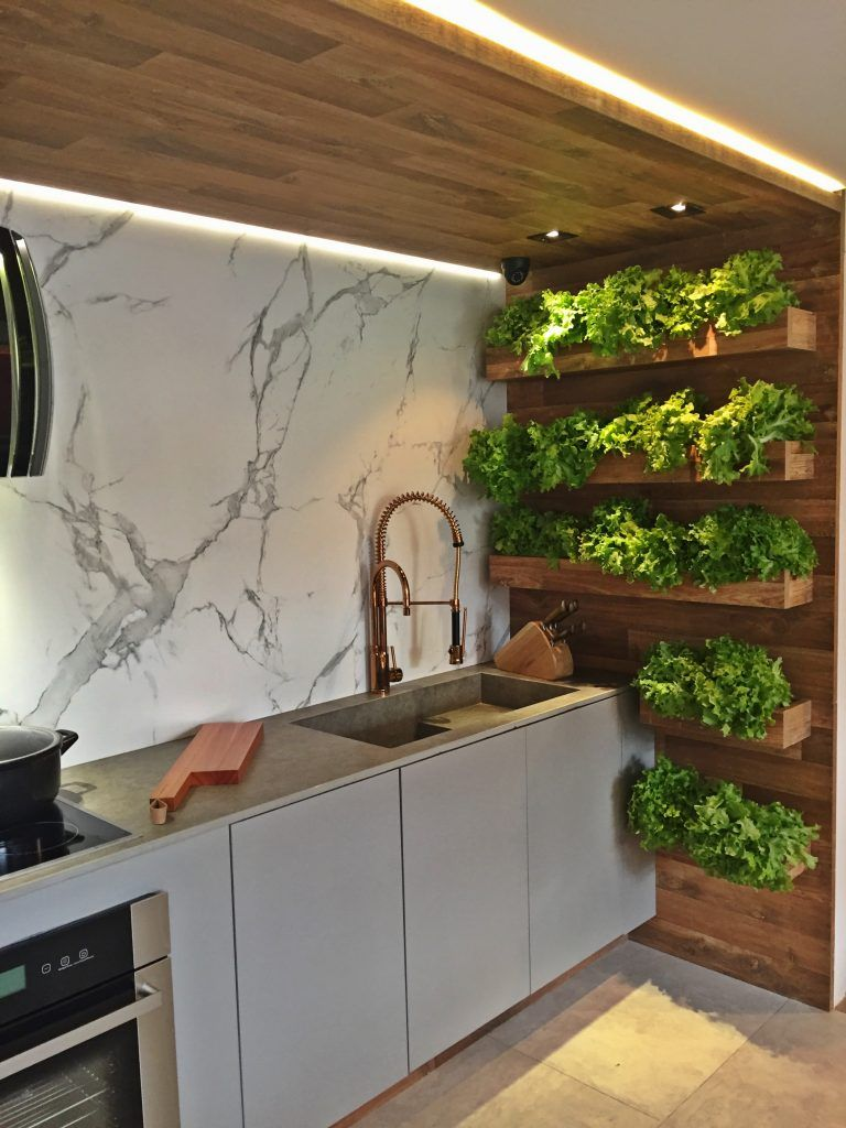 horta vertical em cozinha