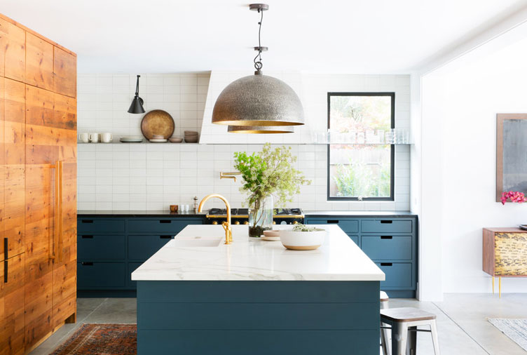 móveis azuis para cozinha