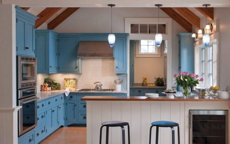 móveis de cozinha azuis