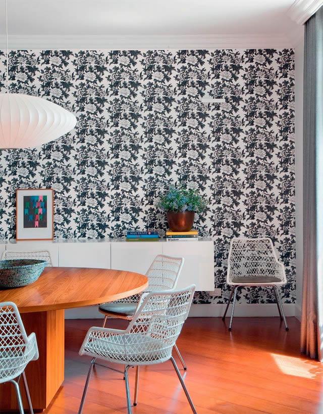 casa alugada com decoração de parede com tecido