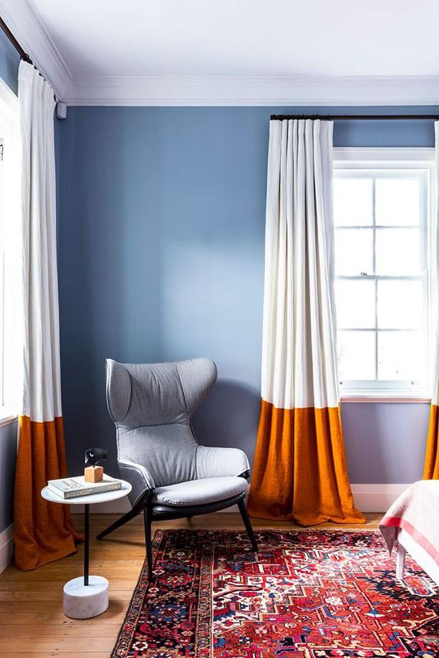 cortina bicolor na decoração
