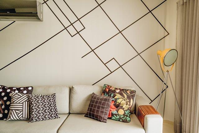 decoração parede com fita adesiva