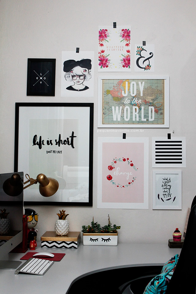 decoração parede com quadros e fotos
