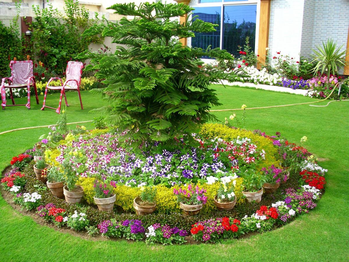 jardim grande com flores